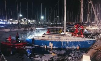 Simulacro de incendio en el Puerto Olímpico y el CN Sant Feliu de Guíxols